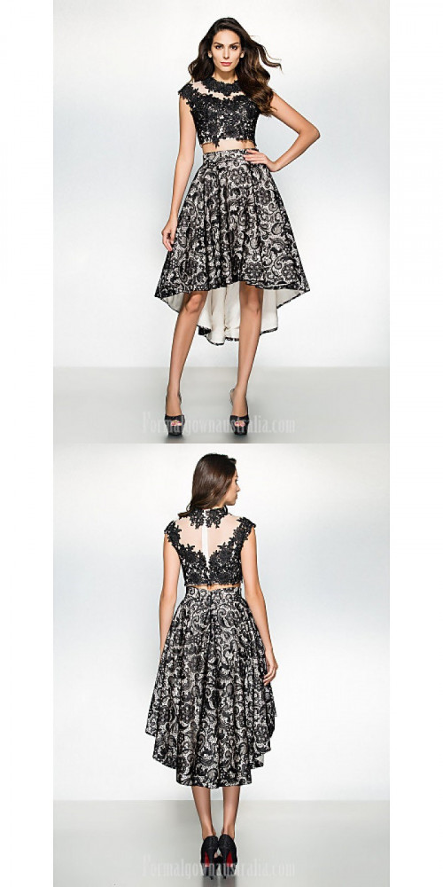 Australia Formal Evening Dress Black A-line Jewel Asymmetrical Lace https://www.formalgownaustralia.com/