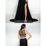 Australia-Formal-Evening-Dress-Black-A-line-Jewel-Court-Train-Chiffon-Lacefd12c33e7a382758