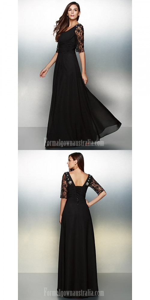 Australia Formal Evening Dress Black A-line Scoop Long Floor-length Chiffon Lace https://www.formalgownaustralia.com/semi-formal-dresses.html