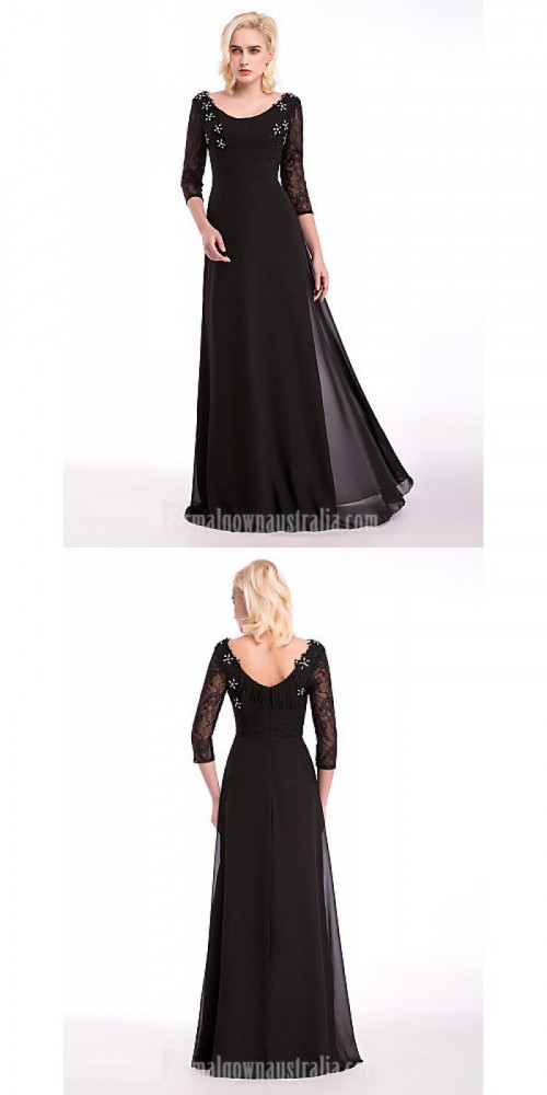Australia Formal Evening Dress Black A-line Scoop Long Floor-length Chiffon Lace Stretch Satin https://www.formalgownaustralia.com/