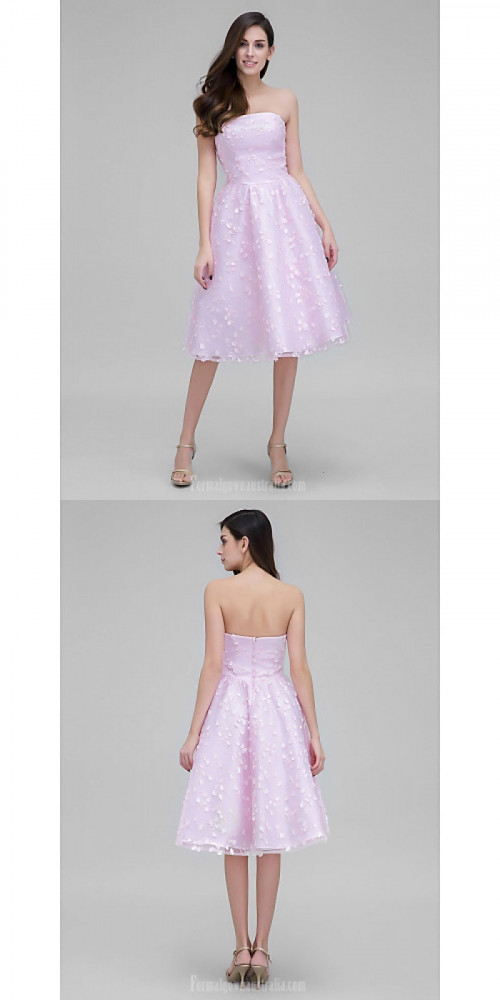 Australia Cocktail Party Dress Blushing Pink A-line Strapless Short Knee-length Lace https://www.formalgownaustralia.com/semi-formal-dresses.html