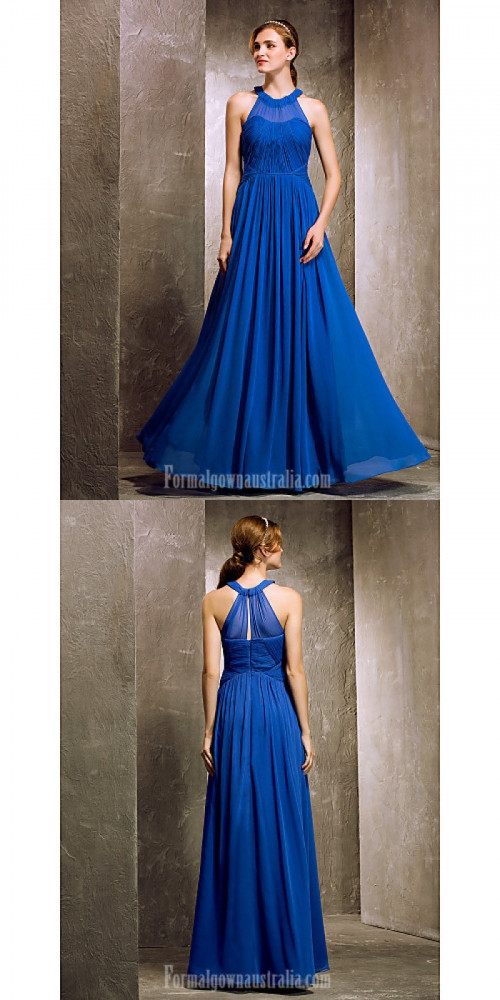 Long Floor-length Chiffon Bridesmaid Dress Royal Blue Apple Hourglass Inverted Triangle Pear Rectangle Plus Sizes Dresses Petite Misses https://www.formalgownaustralia.com/semi-formal-dresses.html